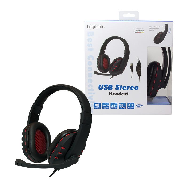 Logilink Casque Audio Usb Avec Microphone Noir Rouge Hs0033 Bei Fr
