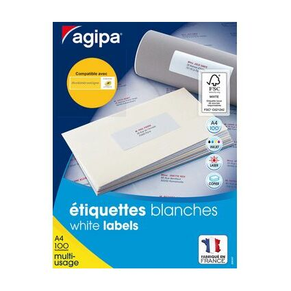agipa Etiquettes multi-usages, 99,1 x 57 mm, blanc