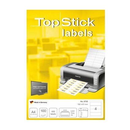 TOP STICK Etiquette pour dos de classeur, 192 x 61 mm, blanc