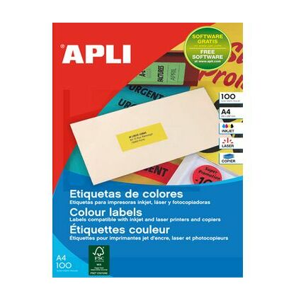 agipa Etiquettes adresse, 210 x 297 mm, orange fluo