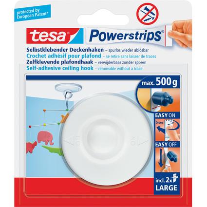 tesa Powerstrips Crochet adhésif pour plafond, blanc