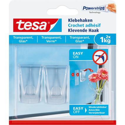 tesa Powerstrips Crochet adhésif pour verre, transparent