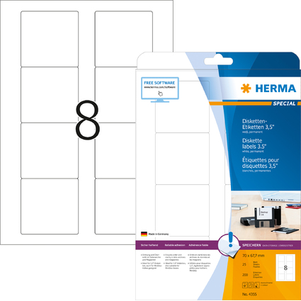 """HERMA Etiquette pour disquettes 3,5"""" SPECIAL, 70 x 67,7 mm"""