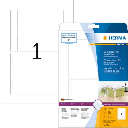 HERMA Jaquette pour boîtier standard de CD, 151 x 118 mm,