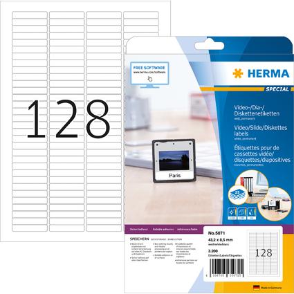 HERMA Etiquette de diapos SPECIAL, 43,2 x 8,5 mm, blanc