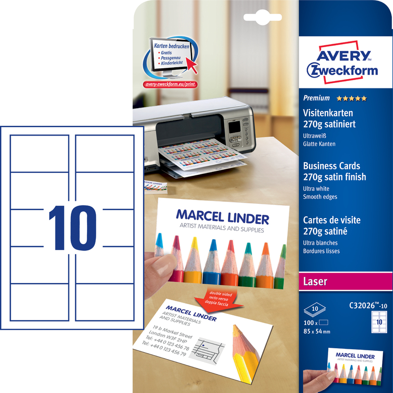 AVERY Zweckform Quick Clean Cartes De Visites 10 Feuilles