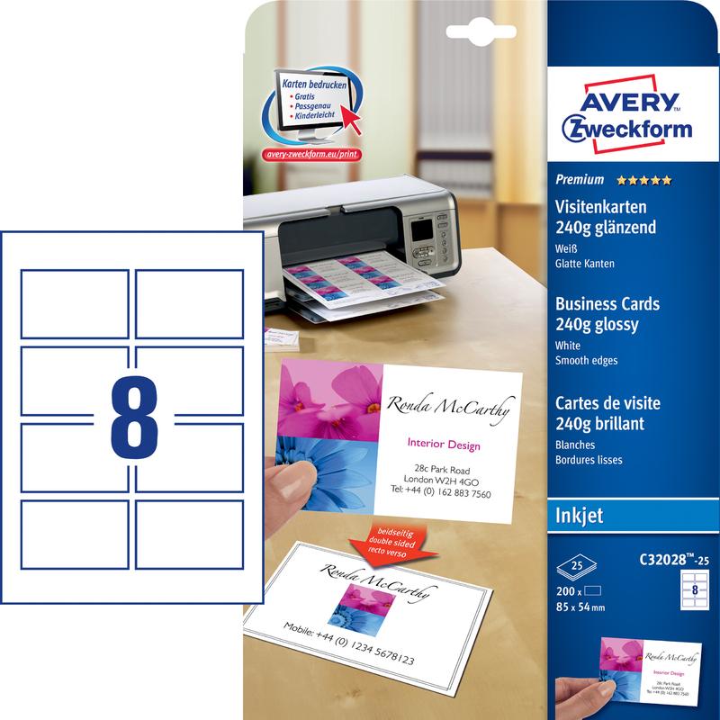 AVERY Zweckform Cartes De Visite Premium Brillant