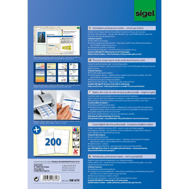 Sigel Logiciel BusinessCard Pour Cartes De Visite