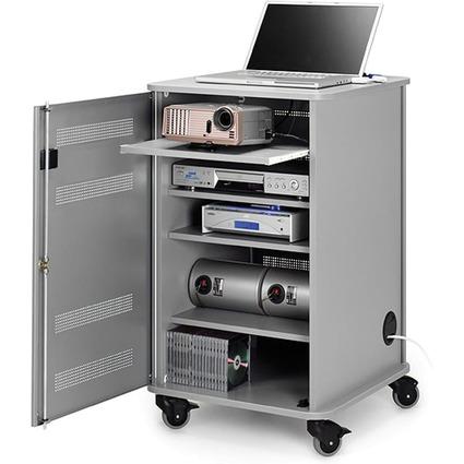 NOBO Armoire mobile multimédia en aluminium, 4 plateaux