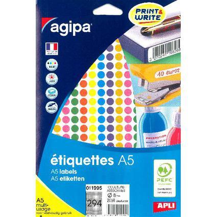 agipa Étiquettes de couleur, diamètre: 8 mm, rond, assorti