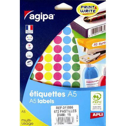 agipa Étiquettes de couleur, diamètre: 15 mm, rond, assorti