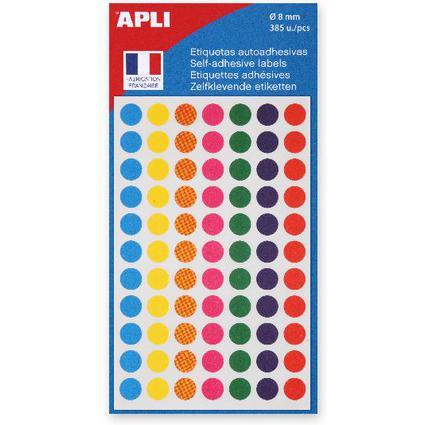 Agipa Etiquettes de couleur, diamètre: 8 mm, rond, assorti