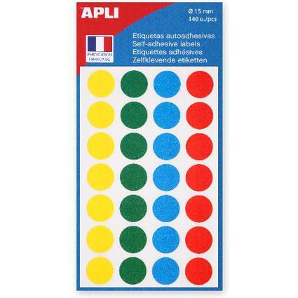 Agipa Etiquettes de couleur, diamètre: 15 mm, rond, assorti