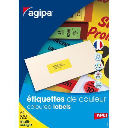 agipa Etiquettes adresse, 70 x 35 mm, jaune fluo