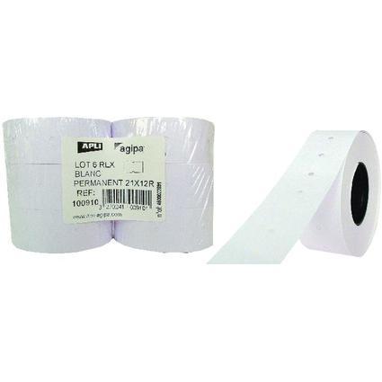agipa Étiquettes pour pince, rectangulaire, blanc, 21 x 12mm