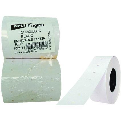 agipa étiquettes pour etiquetteuse, 21 x 12 mm, blanches